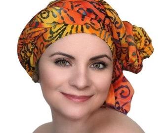 ON SALE Save 40% Orange Gold Purple Turban Dreads Wrap, Head Wrap, Alopecia Scarf, Chemo Hat, Boho Gypsy Tribal, One Piece Fitted Wrap