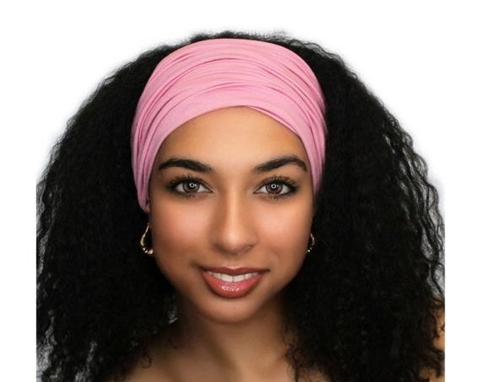 RETIREMENT SALE Rose Pink Turban Head Band, Yoga headband, Wide Headband, Exercise Headband, Pretied Turban 298-09a
