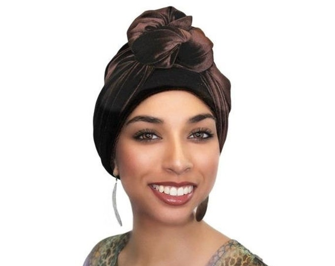 ON SALE Save 30% Turban Diva Brown Velvet Turban, Head Wrap, Chemo Hat, One Piece Fitted