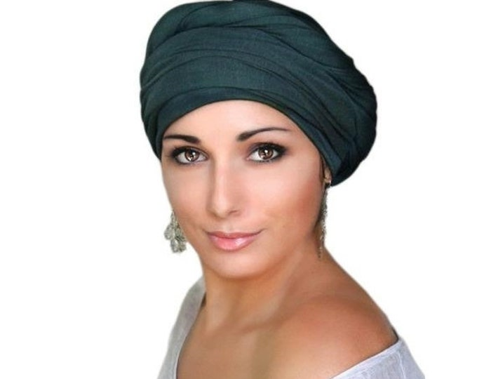 ON SALE Save 30% Forest Green Turban, Pretied Turban, Chemo Hat Head Wrap, One Piece Fitted Wrap, Jersey Knit