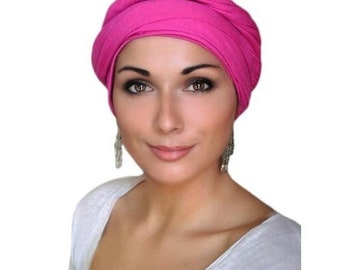 ON SALE Save 30% Hot Pink Turban Dreads Wrap, Jersey Knit Head Wrap, Chemo Hat, One Piece Wrap, Fitted Turban