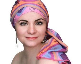 ON SALE Save 30% Fiesta Pink Turban Hat Chemo Hat Head Wrap Alopecia Scarf Cancer, Boho, Pink Purple , Hat & Scarf