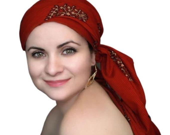 RETIREMENT SALE Save 50% Turban Diva Chemo Hat, Turban Hat Set, Red Turban, Red Cotton Batik Floral, , Hat & Scarf Set