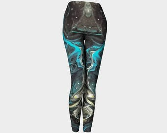"Classic Leggings ""Black Agate 2"" Pattern 805a Black, White, Gray, Blue, Wearable art"