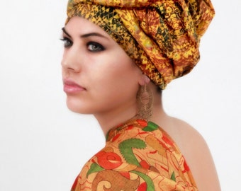 Moroccan Dream Turban Head Wrap, Alopecia Scarf, Chemo Hat, Boho Tribal,  Dreads Wrap, Gold, Yellow, One Piece Fitted Wrap, Rayon Batik