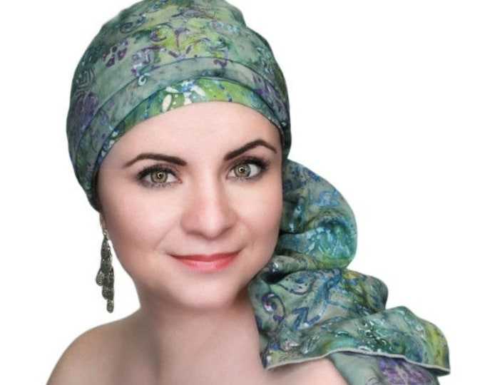 RETIREMENT SALE Turban Diva Tranquility Batik Floral  Chemo Hat,Turban Hat Set, Blue, Gray, Green, Purple Alopecia Scarf, Hat & Scarf Set, G