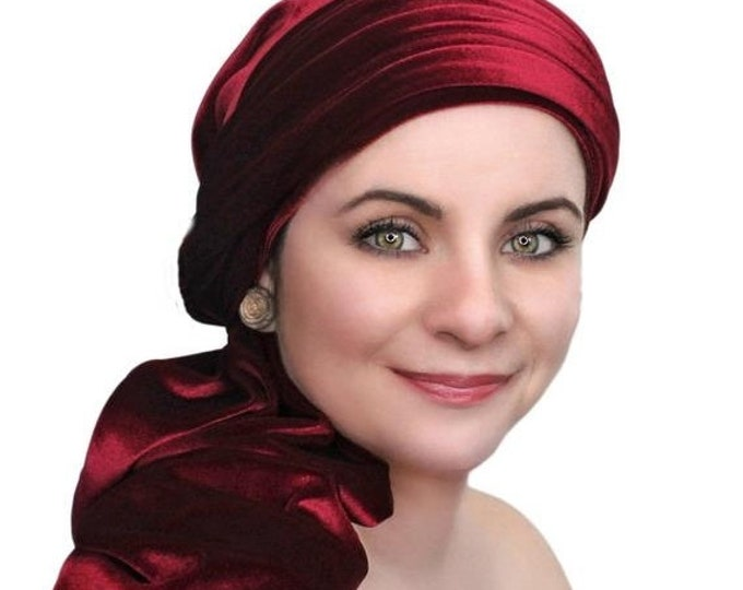 ON SALE Save 30% Turban Diva Burgundy Velvet Turban, Head Wrap, Chemo Hat, One Piece Wrap, Fitted Turban