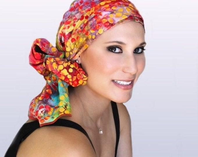 RETIREMENT SALE Turban Diva Chemo Hat, Head Wrap, Red, Orange,Purple, Green,, Chemo Turban|Hat & Scarf Set, Garden Party, gift for her