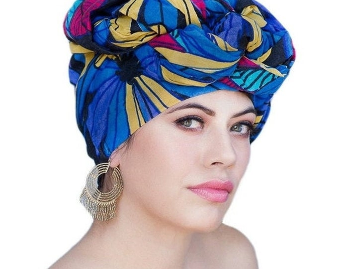 RETIREMENT SALE Turban Dreads Wrap, Blue Red Gold Black Floral Head Wrap, Chemo Hat, Boho Gypsy Tribal, Fitted Wrap