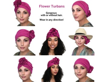 Turban Diva Flower Turban, Chemo Hat, Sleep Hat, Alopecia Cap,  Rayon Knit, Pre-tied Turban, Fuchsia Hot Pink Turban