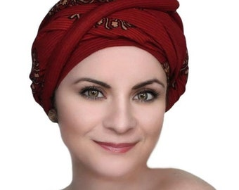 ON SALE Save 30% Turban Diva Red Turban Dreads Wrap, Chemo Hat, Boho Gypsy Tribal, One Piece Wrap, Fitted Turban