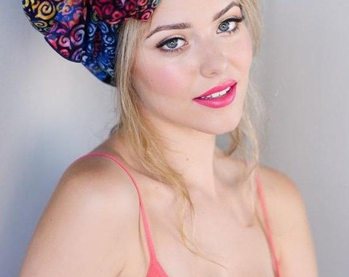 RETIREMENT SALE Save 50% Turban Diva Rainbow Swirl Turban Chemo Hat, Head Wrap  Batik Boho, Chemo Turban, Red Blue Purple Hat & Scarf Set