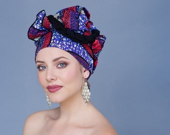 Turban Diva African Wax Print Turban Dreads Wrap, Purple Red Black Head Wrap, Alopecia Scarf, Chemo Hat, Boho Gypsy Tribal, One Piece Wrap