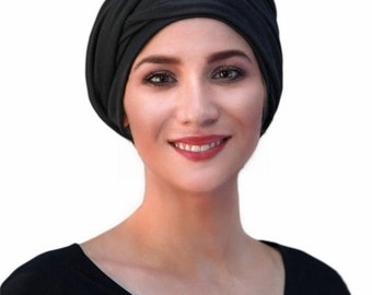ON SALE Save 30% Turban Diva Black Turban Dreads Wrap, Head Wrap, Chemo Hat, Boho Jersey Knit One Piece Wrap, Fitted Turban