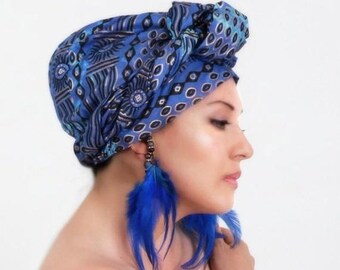 ON SALE Save 40% Tribal Sun Blue Gold Turban Dreads Wrap, Head Wrap, , Chemo Hat, Boho Gypsy Tribal, One Piece Fitted Wrap, Co