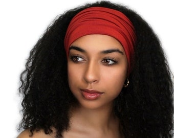 ON SALE Save 25% Rust, Brick Red Turban Head Band, Yoga headband, Wide Headband, Pretied Turban, Chemo Hat