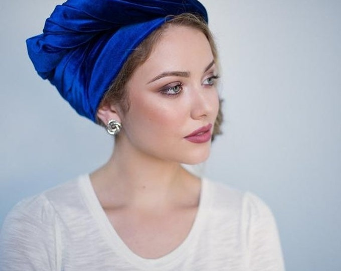 ON SALE Save 30% Turban Diva Blue Velvet Turban, Head Wrap, Chemo Hat, Alopecia Scarf, One Piece Wrap, Fitted Turban