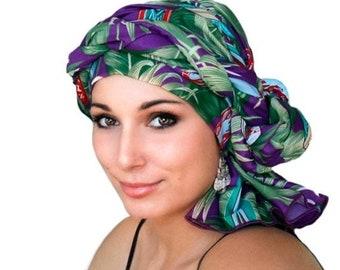 RETIREMENT SALE Turban Dreads Wrap, Purple Green Head Wrap, Chemo Hat, Boho, One Piece Fitted Wrap