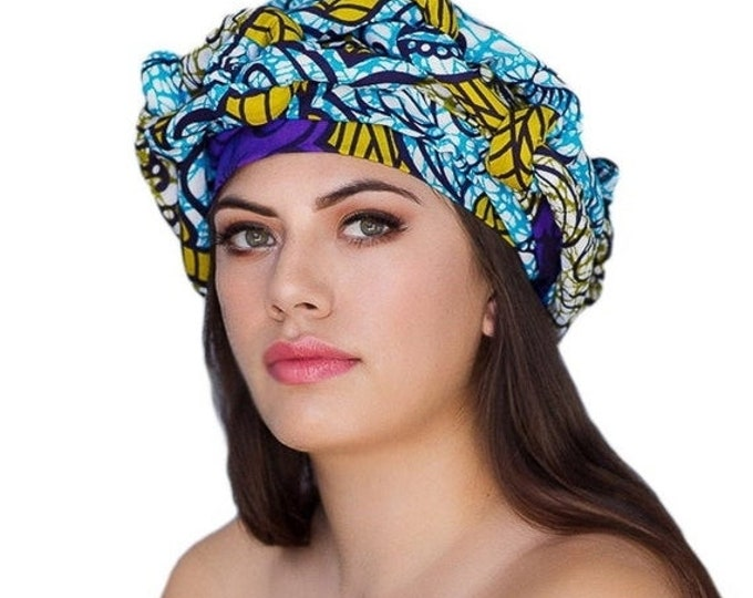 RETIREMENT SALE African Wax Print Turban Dreads Wrap, Blue Purple Gold Black Head Wrap, Chemo Hat, Boho Gypsy Tribal, 1 Piece Wrap