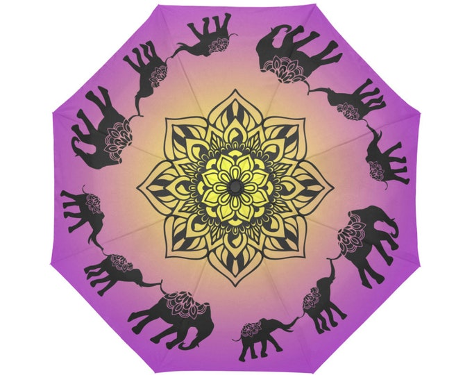 Automatic Open/Close Umbrella, Elephant and Babies Mandala, Fuchsia, Gold, Purple