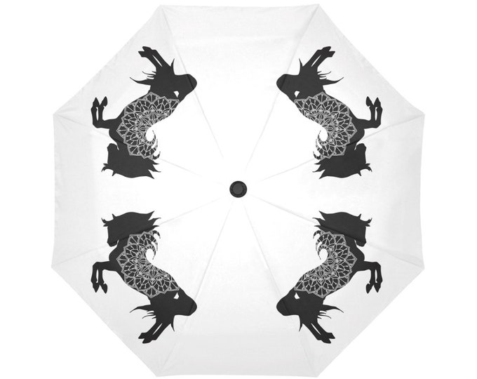Automatic Open/Close Umbrella, Horse Mandala, Black and White