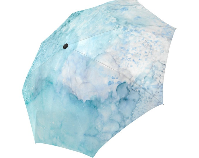 Automatic Open/Close Umbrella, Gift, Seafoam, Blue, Pink, Abstract