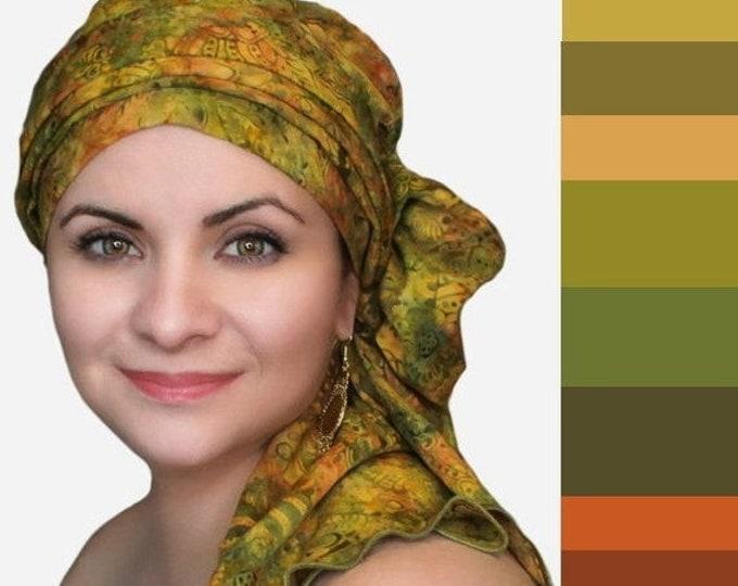 ON SALE Save 30% Olive Floral Chemo Turban Hat Set, Batik Head Wrap , Chemo Hat, Cancer Hat & Scarf Set