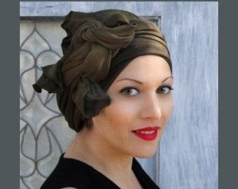 ON SALE Save 30% Turban Diva Dark Olive Green Turban, Head Wrap, Alopecia Head Scarf, Chemo Hat, Jersey Knit Hat & Scarf Set