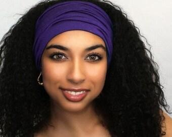 ON SALE Save 25% Purple Turban Head Band, Yoga headband, Wide Headband, Exercise Headband, Pretied Turban 298-39a