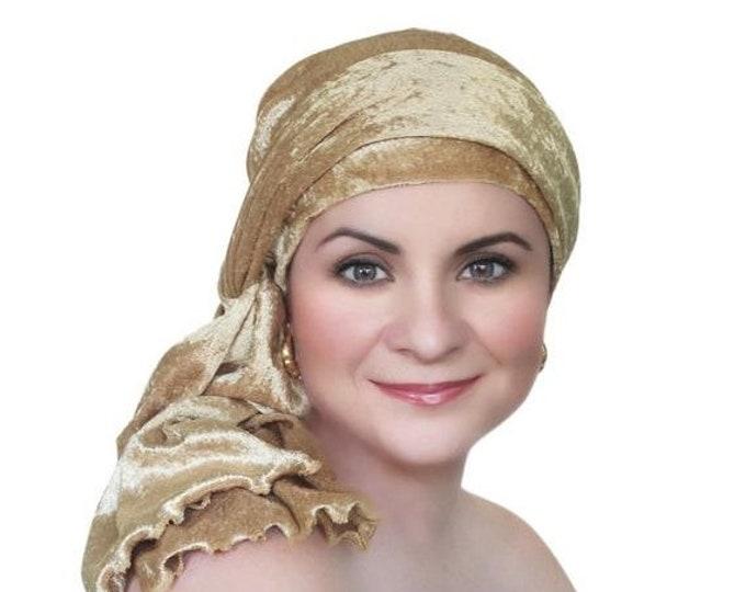 ON SALE Save 30% Turban Diva Gold Velvet Turban, Head Wrap, Chemo Hat, Alopecia Scarf, Hat & Scarf Set