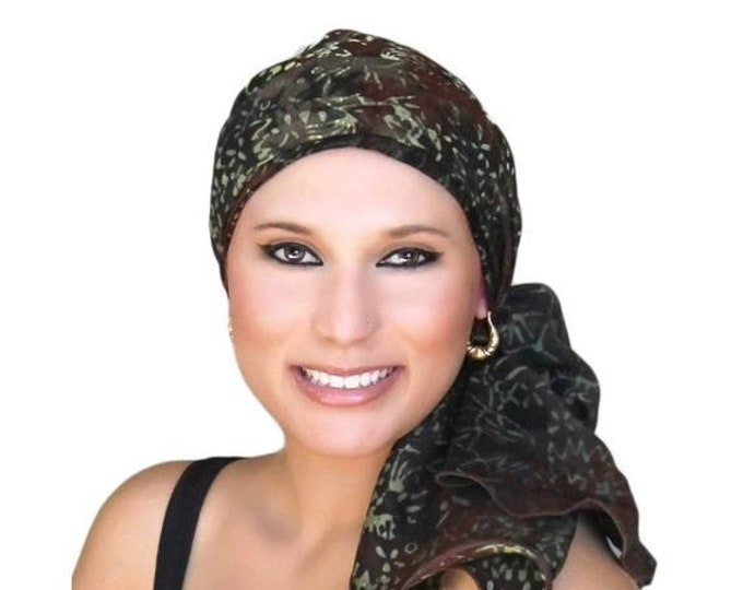 ON SALE Save 30% Turban Diva Turban,Chemo Hat, Black, Olive, Creme, Alopecia Scarf, Pretied Turban, Chestnut Brown  Hat & Scarf Set