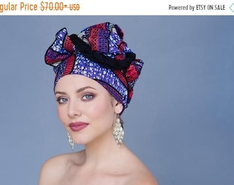 ON SALE Save 40% Turban Diva African Wax Print Turban Dreads Wrap, Purple Red Black Head Wrap, Alopecia Scarf, Chemo Hat, Boho Gypsy Tribal,