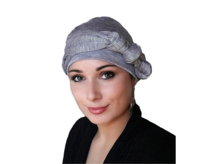 RETIREMENT SALE Save 50% Light Plum Heather Turban, Purple Turban, Head Wrap, Chemo Hat, Jersey Knit Hat & Scarf Set