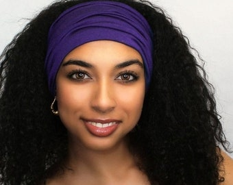ON SALE Save 25% Purple Turban Head Band, Yoga headband, Wide Headband, Exercise Headband, Pretied Turban 298-39a