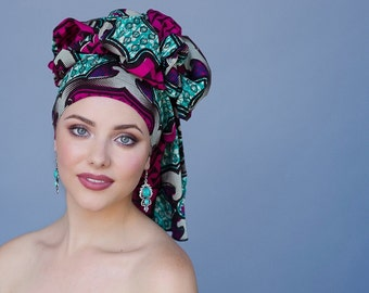Turban Diva Turban, Chemo Hat, Dreads Wrap, Turquoise Teal Pink Black Head Wrap, Alopecia Scarf, Boho Gypsy Tribal, African Wax Print