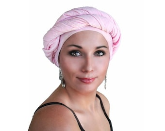 Turban Diva Turban, Chemo Hat, Head Wrap, Pink Turban, Cotton Gauze Turban, Alopecia Scarf, Turban, Boho, Gypsy, One Piece Wrap