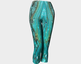 "Classic Capri Leggings ""Morning Tide"" Pattern 852 teal, turquoise, black, white, gray, Wearable art"