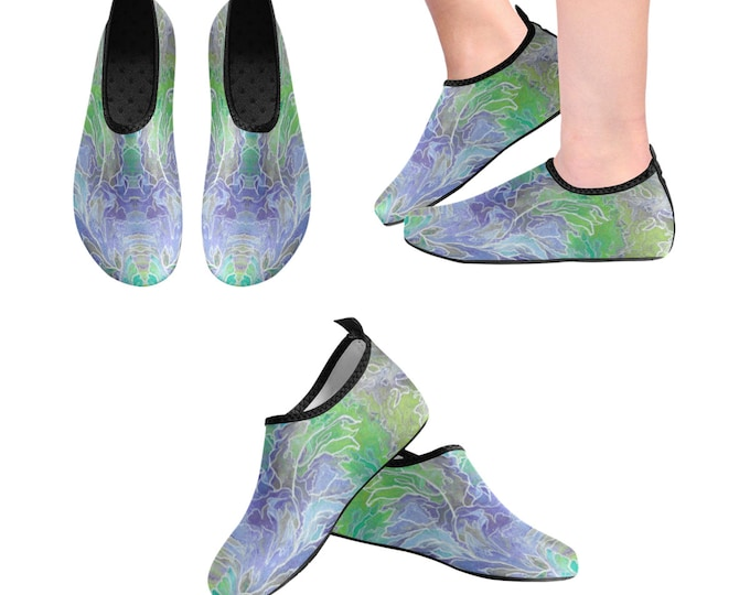 Yoga Shoes, Barefoot Shoes, Abstract Art Shoes, Women's Shoes, Kids Shoes, Flat Shoes, Casual Shoes, Purple, Teal, Floral