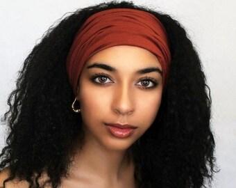 RETIREMENT SALE Rust Turban Headband, Yoga headband, Wide Headband, Pretied Turban, Chemo Hat 298-32a
