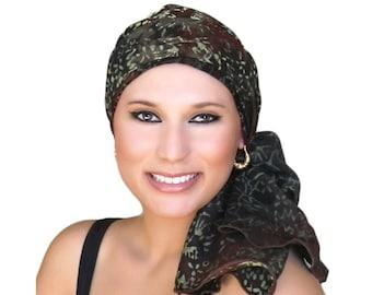 Turban Diva Turban,Chemo Hat, Black, Olive, Creme, Alopecia Scarf, Pretied Turban, Chestnut Brown  Hat & Scarf Set