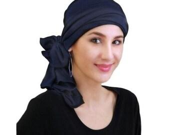 ON SALE Save 30% Navy Blue Turban, Head Wrap, Chemo Hat, Alopecia Head Scarf, Jersey Knit Hat & Scarf Set