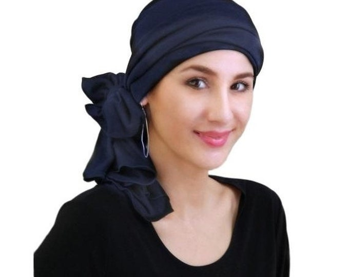 ON SALE Save 30% Navy Blue Turban, Head Wrap, Chemo Hat, Alopecia Head Scarf, Jersey Knit Hat & Scarf Set