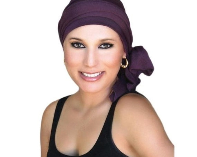 RETIREMENT SALE Turban Diva Plum Turban, Purple Turban, Chemo Hat, Head Wrap, Alopecia Head Scarf, Jersey Knit Hat & Scarf Set, Gift for Her