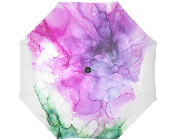 Automatic Open/Close Umbrella, Gift, Pink Green, White, Floral, Purple, Abstract