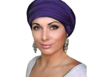 ON SALE Save 30% Turban Diva Purple Turban, Head Wrap Alopecia Head Scarf Chemo Hat, Jersey knit Hat & Scarf Set