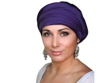 Turban Diva, Purple Turban, Jersey Knit Head Wrap, Chemo Hat, Alopecia Scarf, Hijab, One Piece Wrap