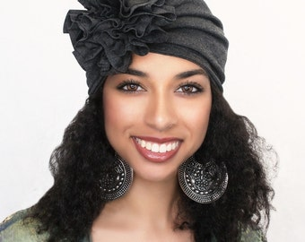 Turban Diva Flower Turban, Chemo Hat, Sleep Hat, Alopecia Cap,  Rayon Knit, Pre-tied Turban, Charcoal Gray Turban  300-18