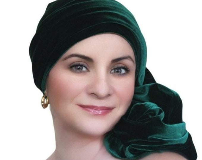 Featured listing image: ON SALE Save 30% Turban Diva Emerald Green Velvet Turban, Head Wrap, Chemo Hat, Alopecia Scarf, Hat & Scarf Set