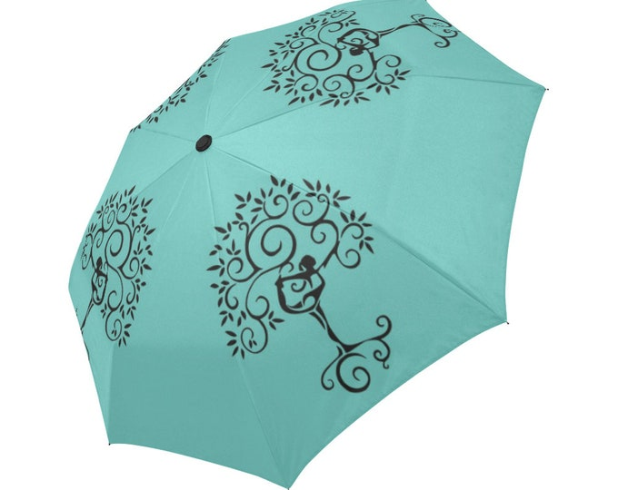 Automatic Open/Close Umbrella, Gift, Teal, Turquoise, Black, Yoga Pose, Tree of Life