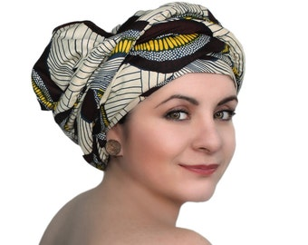 Brown Creme Navy Swirl African Wax Print Turban Dreads Wrap, Head Wrap, Alopecia Scarf, Chemo Hat, Boho Gypsy Tribal, One Piece Fitted